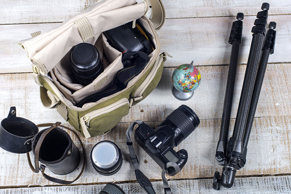 37196720 - bag and appliances for photography top view