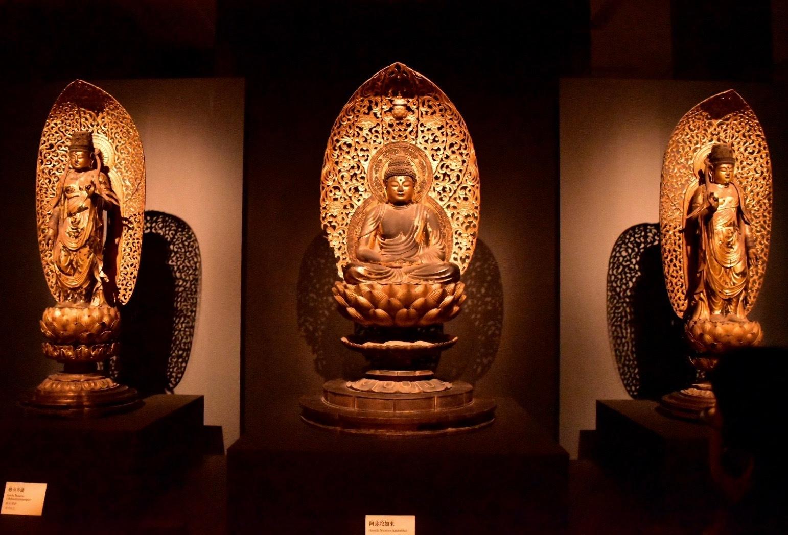 国宝 阿弥陀如来坐像および両脇侍立像 平安時代 仁和4年(888) 京都・仁和寺