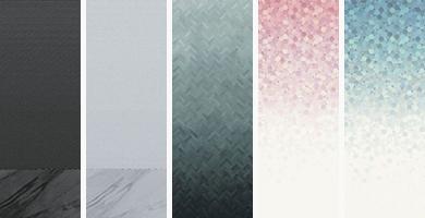 風景をモチーフにした壁デザイン。 左から、白波ブラック、白波ホワイト、山綾(やまあや)、水泡(みなわ)ピンク、水泡(みなわ)ブルー