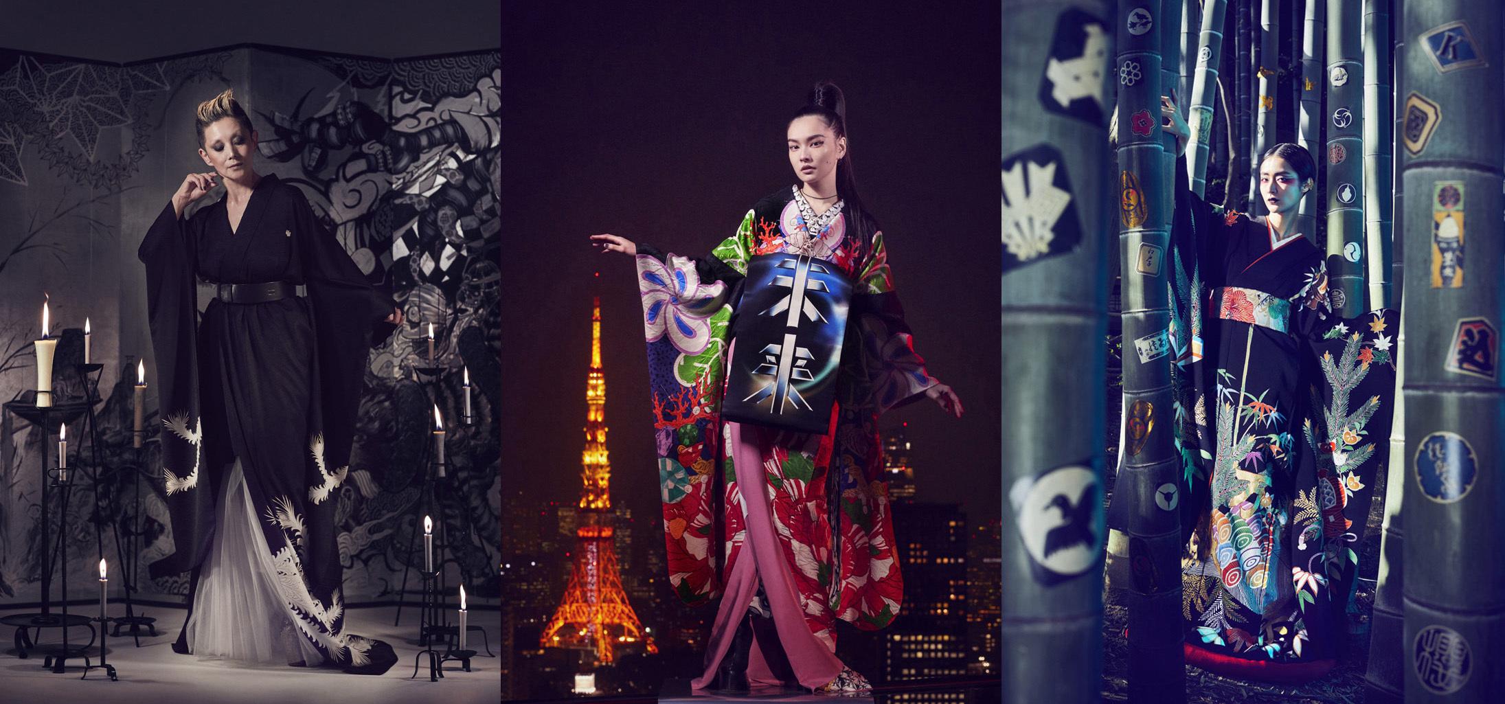 着物ハイファッション「浮世絵現代」より秋元梢(中央)、夏木マリ(左)、シシド・カフカ(右)
