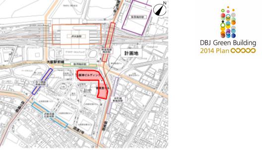 【左】計画地周辺図 【右】DBJ Green Building認証 「5つ星」を取得