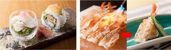 【左】鱧の湯引きとお寿司の盛り合わせ 【右】海老の焼しゃぶ