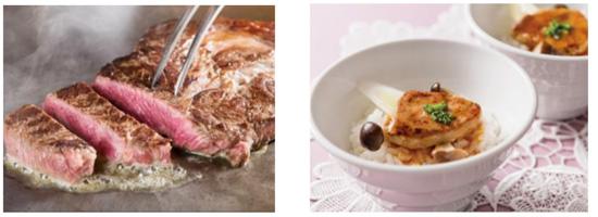 【左】ビーフステーキ【右】フォワグラ丼