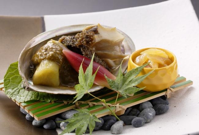 <日本料理>鮑ローストと焼き茄子の香味味噌掛け
