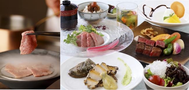 鉄板焼 葵(写真左)牛肉の冷製しゃぶしゃぶを目の前で ベビーリーフと香味野菜を添えて(写真右)葵ディナー