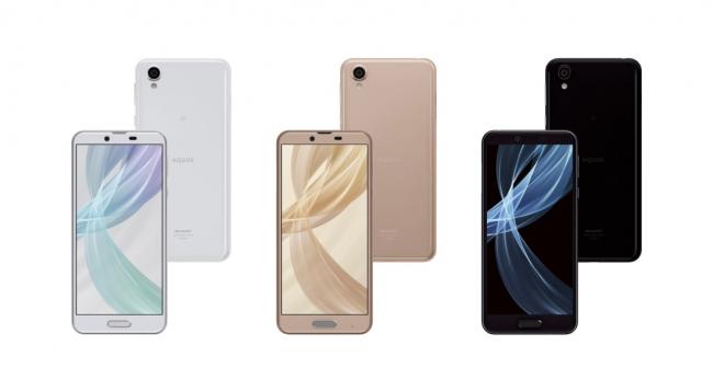 スマートフォン「AQUOS sense plus」<SH-M07>(左から、ホワイト、ベージュ、ブラック) ●画面はハメコミ合成です。