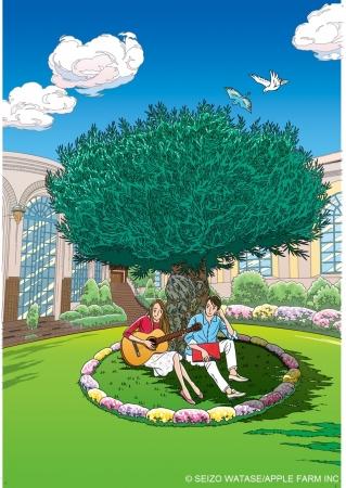 オリーブと噴水の広場を描いた新作版画「幸せいっぱいのOlive」