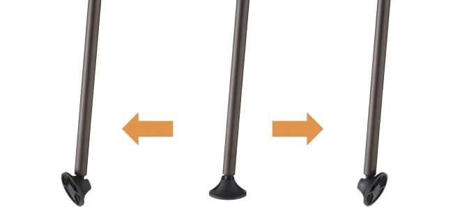 地面との接点に可動式パーツを 装備することにより、 傾斜の場所でも安定した設置が可能。