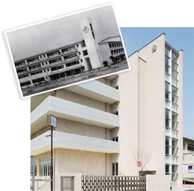 移転当時の校舎(上)と現在の校舎(下)