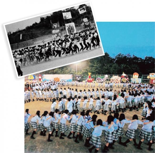 上:体育祭でのムカデ競走(1980年頃) 下:文化祭後のダンスで絆を深める生徒(2010年頃)