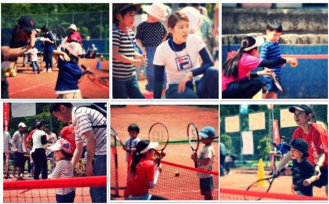 うつぼフェスタでの親子テニスの様子