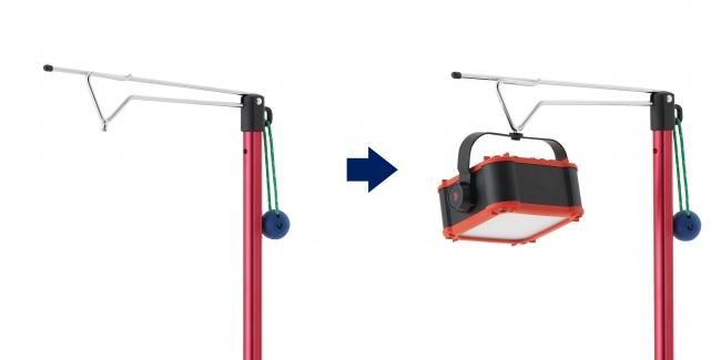 「パワーストックランタン」 (別売)を固定するネジを装備。 角度調節も自由自在。
