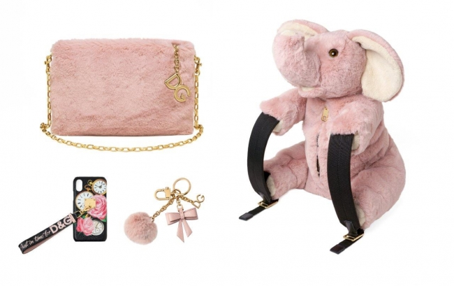 (C)Dolce&Gabbana (左上)ミニバッグ「クレオ」¥139,000 (下左) iPhoneケース ¥79,000 (下右) キーチャーム  ¥47,000 (右)エレファントバックパック ¥145,000