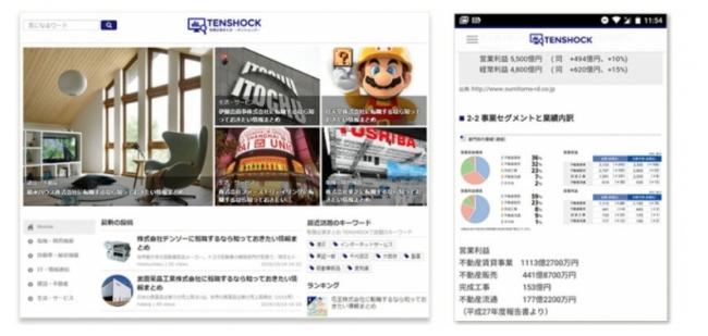 「TENSHOCK(テンショック)」TOP画面とスマホ表示イメージ