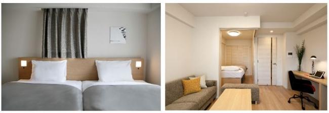 ▲寝室(2LDK Aタイプ・(左))▲リビング・寝室図(1LDK Cタイプ(右))