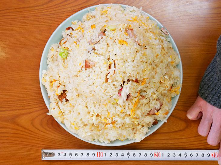 お皿の直径が約24cm。でかい。噂通りのメガ盛りチャーハン、威風堂々とした姿です