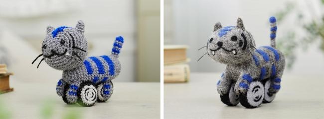 あみぐるみ版ニャイケン(左)と羊毛フェルト版ニャイケン(右)