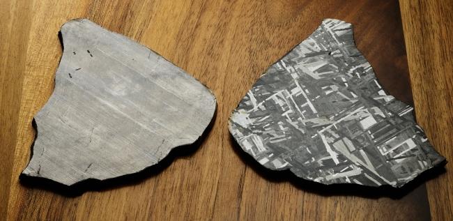 隕石(メテオライト)を硝酸につける前と後