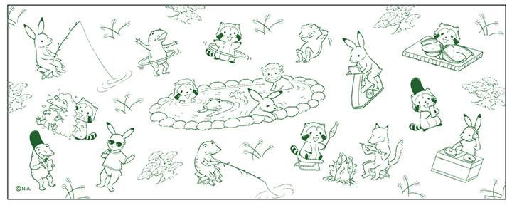 「ラスカルin鳥獣戯画」手ぬぐい