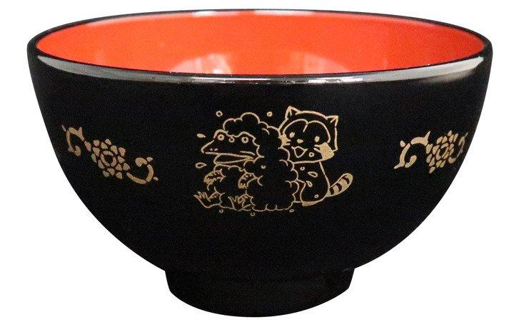 ラスカルin鳥獣戯画 塗茶碗