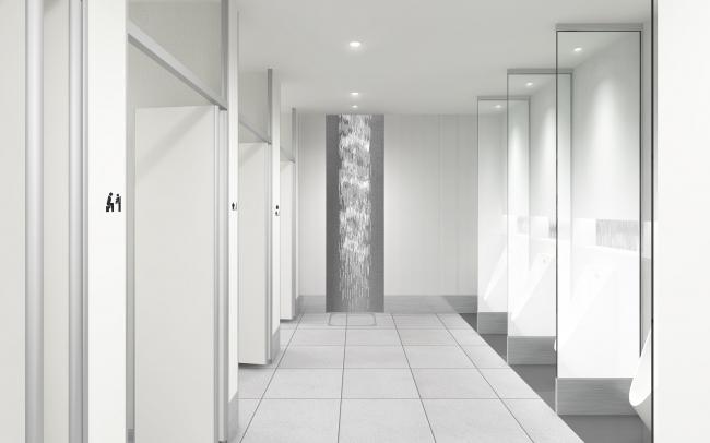 男性トイレ:小用時のプライバシー配慮のため、小便器の間に仕切りを設置。ベビーシートを設置した大便器ブースを男性トイレにも設置します ※イメージ