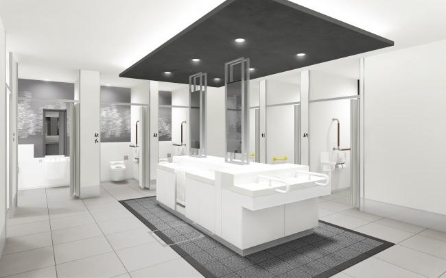 女性トイレ:洗面は見通しのきくアイランド型とし、別途スタイリングコーナーを設けることで、混雑緩和を図ります ※イメージ