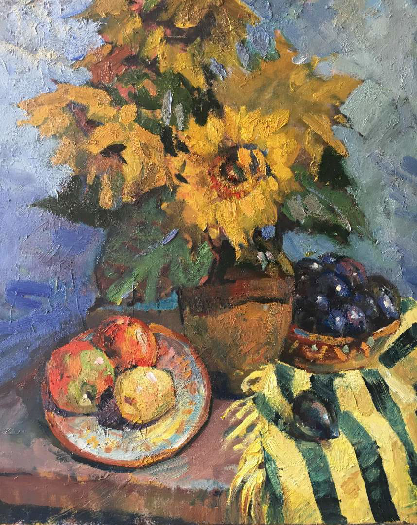 《Sunflowers with apples》