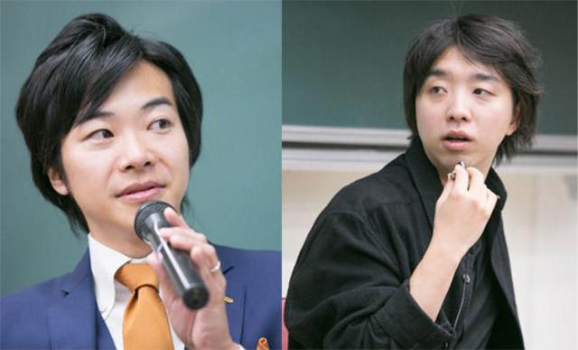 筑波大学で講義をする落合陽一(右)と音喜多 駿(左)