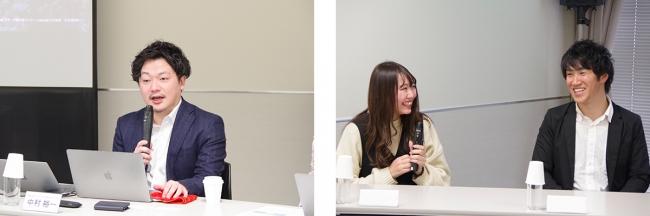 (左)エウレカCPO・CMO中村、(右)Pairs卒会者カップル