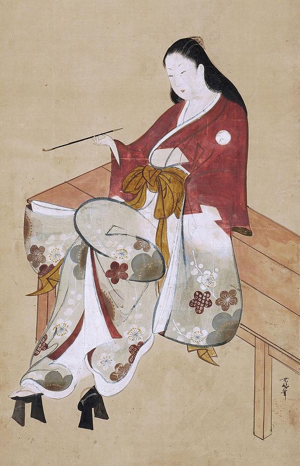 縁台美人喫煙図 山崎龍女画