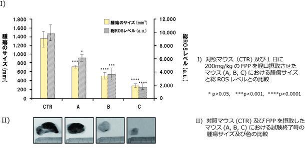 【図2】対照マウス(コントロール)および FPPを毎日摂取したマウス(FPP摂取開始から21日後 (A)、14日後(B)、3日後(C)にメラノーマを移植)との比較