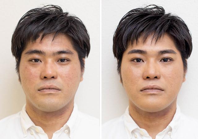 左がビフォア、右がアフター。主張の強かった眉がすっきりと優しい印象に。肌の赤みが消え美肌になったことで清潔感が大幅にアップ