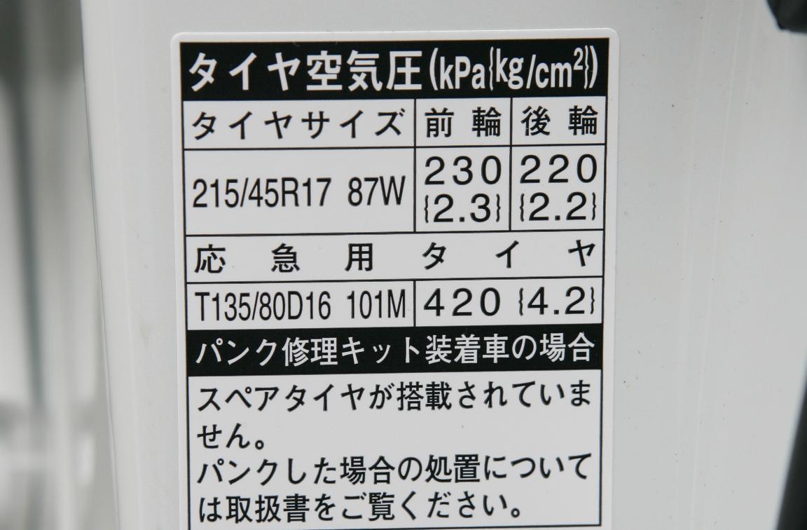 指定空気圧