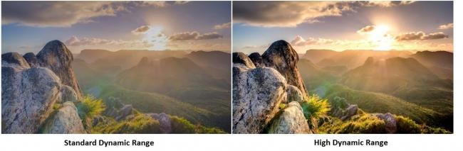(左)通常のダイナミクスレンジ、(右)高質なダイナミックレンジ