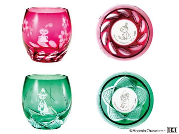底にしのばせたキャラクターが現れる「ムーミン 江戸切子グラス」