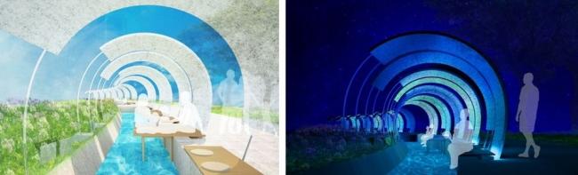 (左)昼のイメージ (右)夜のイメージ