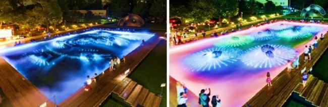(左)砂紋演出:夕時 光によって表現される砂紋を眺めながら心静かにお過ごしいただけます (右)デジタル花火演出:夕時 花火の一瞬の輝きと散りゆく光をデジタルで表現しています