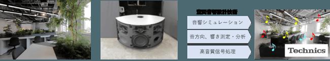 左から:コモレビズ、テクニクススピーカー、空間音響設計