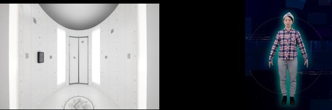 左から:3Dフォトスキャナ(内観)、生成された3Dアバター