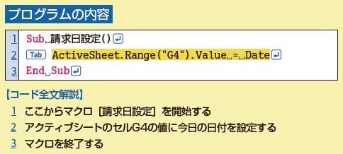 入力するVBAのコード全文に日本語解説が付いているので、はじめてでも意味が分かる