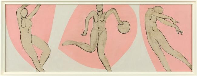 マティスののもとを訪れた直後に描かれた猪熊弦一郎作品。巨匠の影響が色濃くみられる。 猪熊弦一郎《無題》1948-49年頃 油彩、板[3枚組の一部] 個人蔵  (C)公益財団法人ミモカ美術振興財団