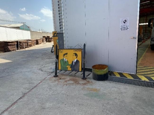 工場内に設置されたカイゼンのサインボード(首都アディスアベバ)