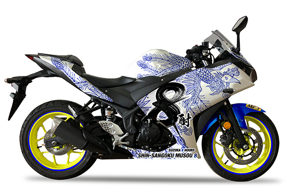 「真・三國無双8」のラッピングを施したレーシングバイクも展示される (c)2018 コーエーテクモゲームス All rights reserved