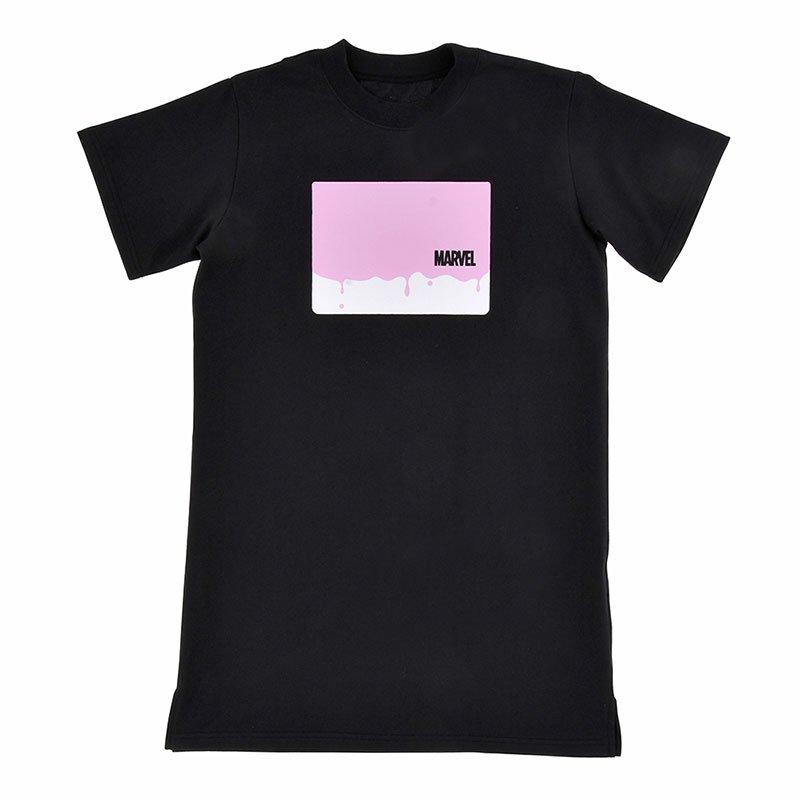 マーベル 半袖Tシャツ ロング ロゴ ドリッピング PINK