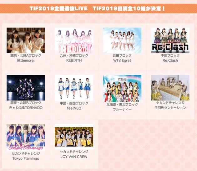 「TIF2019全国選抜LIVE」で出演が決まった10組 (C)2019 TOKYO IDOL PROJECT
