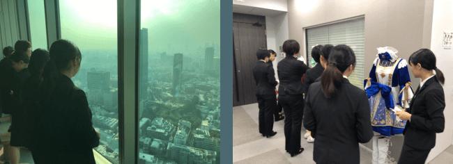 六本木42階の素敵な眺めに感動。衣装の精巧な作りにも興味津々。