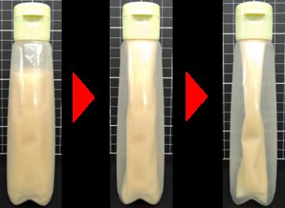 中身のしぼり出しに合わせて内袋がしぼむことで中身が空気に触れにくくなり、開封後も素材のおいしさが長持ちします。
