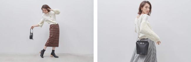 左:ニット¥10,000(+TAX) スカート¥12,000(+TAX) 右:ニット¥10,000(+TAX) スカート¥10,000(+TAX)