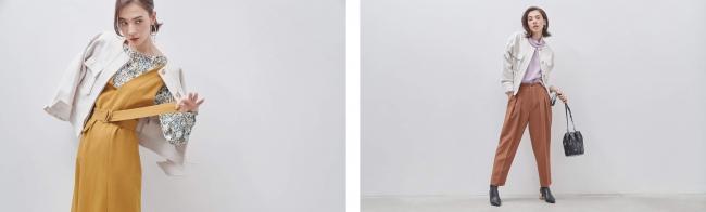 左:ジャケット¥15,000(+TAX) ブラウス¥12,000(+TAX) ジャンパースカート¥15,000(+TAX)  右:ジャケット¥15,000(+TAX) プルオーバー¥8,000(+TAX) パンツ¥12,000(+TAX)