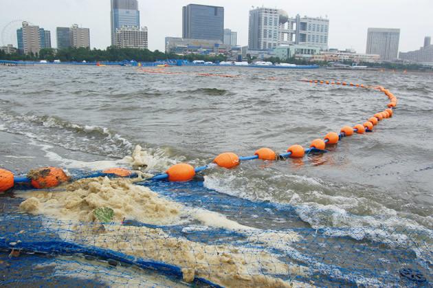 東京五輪でトライアスロンなどが行なわれるお台場海浜公園。競技実施予定エリアのすぐ近くに、謎のうんち色の泡が堆積していた